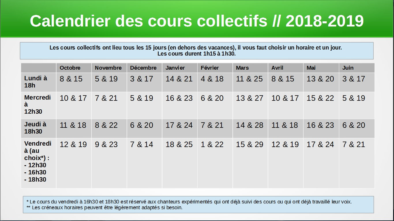 2018 2018 calendrier cours co